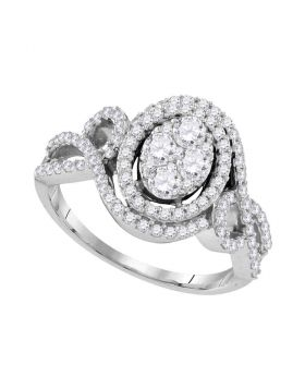 10kt White Gold Womens Round Diamond Oval Halo Twist Cluster Bridal Wedding Engagement Ring 1.00 Cttw