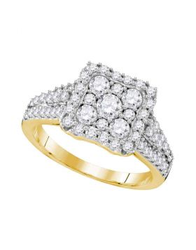 10kt Yellow Gold Womens Round Diamond Square Cluster Halo Bridal Wedding Engagement Ring 1-1/5 Cttw
