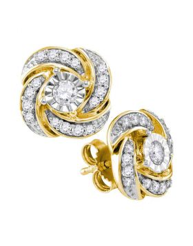 10kt Yellow Gold Womens Round Diamond Pinwheel Stud Earrings 1/3 Cttw