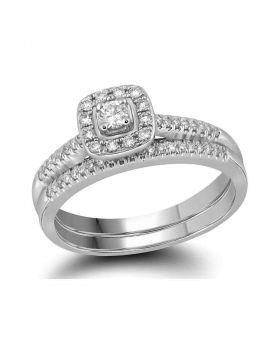 10kt White Gold Womens Princess Diamond Square Halo Bridal Wedding Engagement Ring Band Set 1/3 Cttw