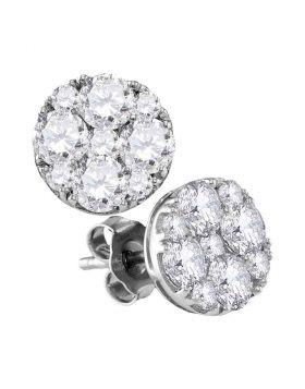 10kt White Gold Womens Round Diamond Cluster Screwback Earrings 2 Cttw