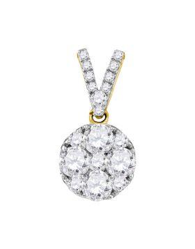 10kt Yellow Gold Womens Round Diamond Cluster Pendant 1.00 Cttw