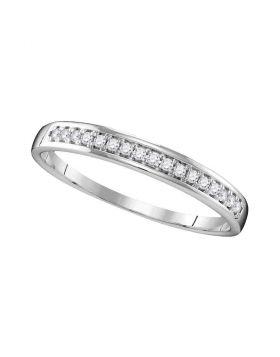 10kt White Gold Womens Round Diamond Wedding Band Ring 1/10 Cttw