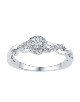 10kt White Gold Womens Round Diamond Solitaire Twist Bridal Wedding Engagement Ring 1/5 Cttw