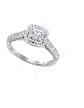 14kt White Gold Womens Princess Diamond Solitaire Bridal Wedding Engagement Ring 1.00 Cttw Size 10 (Certified)