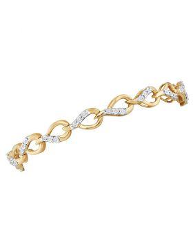 10kt Yellow Gold Womens Round Diamond Linked Teardrop Fashion Bracelet 1/6 Cttw