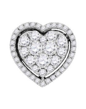 10kt White Gold Womens Round Diamond Frame Heart Cluster Pendant 1.00 Cttw