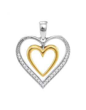 10kt Two-tone Gold Womens Round Diamond Dangling Nested Heart Pendant 1/10 Cttw