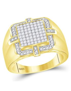 10KT YELLOW GOLD PRINCESS DIAMOND SQUARE FRAME CLUSTER RING 1.00 CTTW