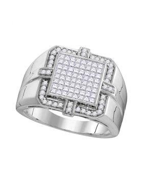 10KT WHITE GOLD PRINCESS DIAMOND SQUARE FRAME CLUSTER RING 1.00 CTTW