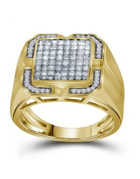 10KT YELLOW GOLD PRINCESS DIAMOND CLUSTER RING 1.00 CTTW