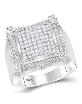 10KT WHITE GOLD PRINCESS DIAMOND SYMMETRICAL SQUARE CLUSTER RING 1-7/8 CTTW