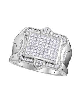 10KT WHITE GOLD PRINCESS DIAMOND SYMMETRICAL SQUARE CLUSTER RING 1.00 CTTW