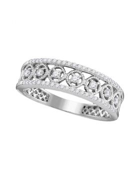 10kt White Gold Womens Round Diamond Filigree Symmetrical Band Ring 1/3 Cttw
