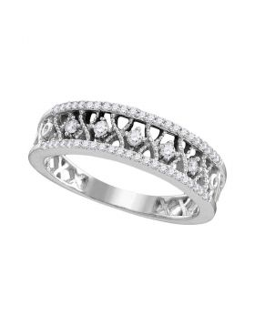 10kt White Gold Womens Round Diamond Filigree Symmetrical Band Ring 1/4 Cttw