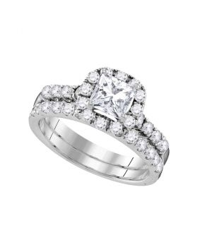 14kt White Gold Womens Princess Diamond Bridal Wedding Engagement Ring Band Set 1-7/8 Cttw