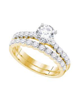 14kt Yellow Gold Womens Round Diamond Bridal Wedding Engagement Ring Band Set 2-1/5 Cttw