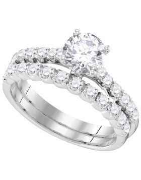 14kt White Gold Womens Round Diamond Bridal Wedding Engagement Ring Band Set 2-1/5 Cttw