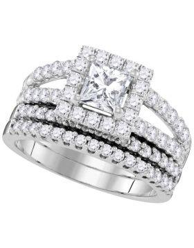 14kt White Gold Womens Princess Diamond Split-shank Bridal Wedding Engagement Ring Band Set 3/4 Cttw