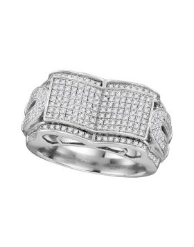 10KT WHITE GOLD ROUND DIAMOND SYMMETRICAL CONCAVE RECTANGLE CLUSTER RING 3/4 CTTW