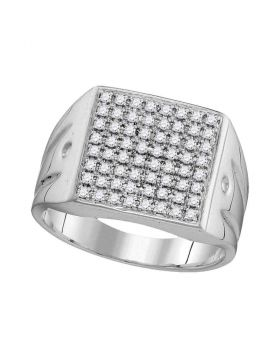 10KT WHITE GOLD ROUND DIAMOND POLISHED SQUARE CLUSTER RING 1/2 CTTW