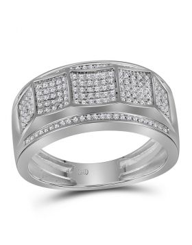 10KT WHITE GOLD ROUND DIAMOND BAND RING 1/3 CTTW
