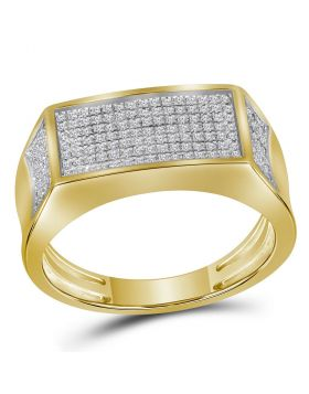 10KT YELLOW GOLD ROUND DIAMOND RECTANGLE CLUSTER BAND RING 1/3 CTTW