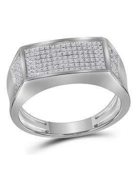 10KT WHITE GOLD ROUND DIAMOND RECTANGLE CLUSTER BAND RING 1/3 CTTW