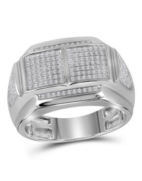 10KT WHITE GOLD ROUND DIAMOND DOUBLE SQUARE CLUSTER RING 3/8 CTTW