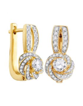 10kt Yellow Gold Womens Round Diamond Swirled Cluster Hoop Earrings 3/4 Cttw