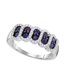 10kt White Gold Womens Round Blue Sapphire Diamond Stripe Band 1.00 Cttw