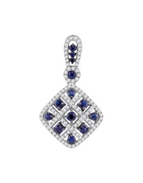 10kt White Gold Womens Round Lab-Created Blue Sapphire Square Pendant 1.00 Cttw