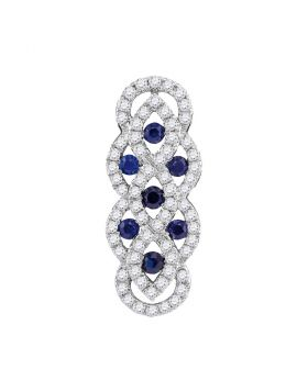10kt White Gold Womens Round Blue Sapphire Diamond Vertical Woven Fashion Pendant 1/2 Cttw
