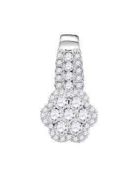 10kt White Gold Womens Round Diamond Cluster Slider Pendant 1/2 Cttw