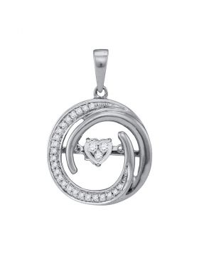 10kt White Gold Womens Round Diamond Moving Twinkle Heart Circle Pendant 1/8 Cttw