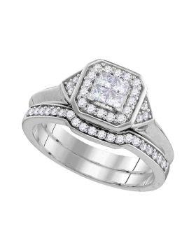 10kt White Gold Womens Princess Diamond Halo Bridal Wedding Engagement Ring Band Set 1/2 Cttw