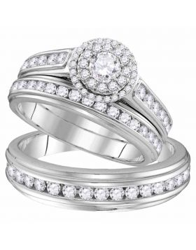 10kt White Gold His & Hers Round Diamond Solitaire Matching Bridal Wedding Ring Band Set 1-5/8 Cttw
