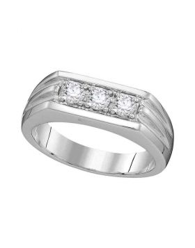 10KT WHITE GOLD ROUND DIAMOND 3-STONE RIBBED BAND RING 1/2 CTTW