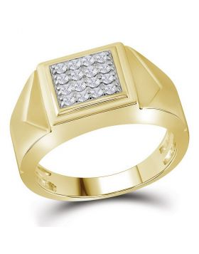 10KT YELLOW GOLD ROUND DIAMOND SQUARE CLUSTER FACETED FASHION RING 1/3 CTTW
