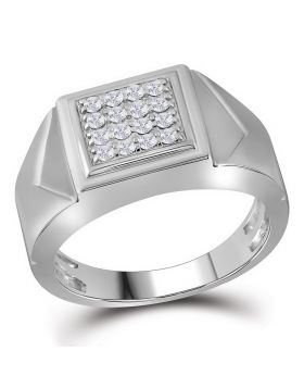 10KT WHITE GOLD ROUND DIAMOND SQUARE CLUSTER FACETED FASHION RING 1/3 CTTW