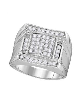 10KT WHITE GOLD ROUND DIAMOND ARCHED SQUARE CLUSTER RING 1.00 CTTW