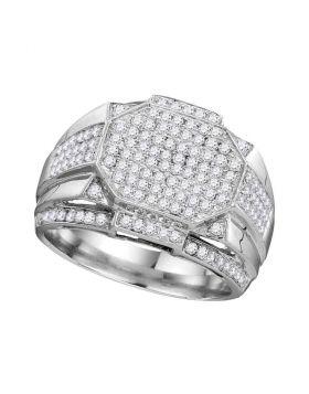 10KT WHITE GOLD ROUND DIAMOND POLYGON OCTAGON CLUSTER RING 1-1/2 CTTW