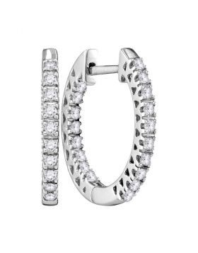 10kt White Gold Womens Round Diamond Slender Hoop Earrings 1/4 Cttw