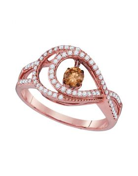 10kt Rose Gold Womens Round Cognac-brown Color Enhanced Diamond Moving Twinkle Ring 1/2 Cttw
