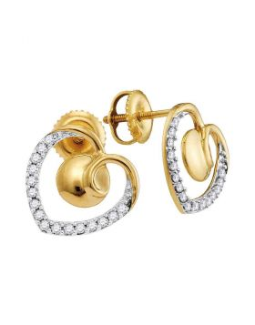 10kt Yellow Gold Womens Round Diamond Heart Screwback Earrings 1/4 Cttw