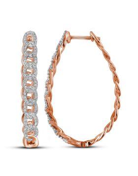 10kt Rose Gold Womens Round Diamond Oval Link Oblong Hoop Earrings 1/2 Cttw