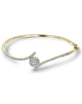 14kt Yellow Gold Womens Princess Round Diamond Soleil Bangle Bracelet 3/4 Cttw