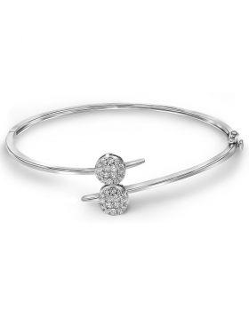 14kt White Gold Womens Princess Round Diamond Double Cluster Bangle Bracelet 3/4 Cttw
