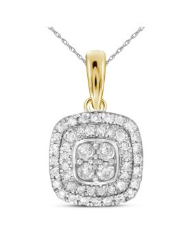 14kt Yellow Gold Womens Round Diamond Square Cluster Pendant 1/3 Cttw