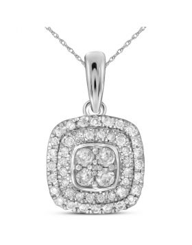 14kt White Gold Womens Round Diamond Square Cluster Pendant 1/3 Cttw